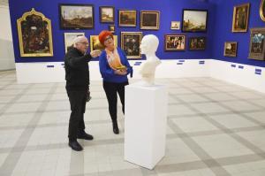 Tadeusz Grabski z Barbarą Schroeder w Muzeum Narodowym w Poznaniu